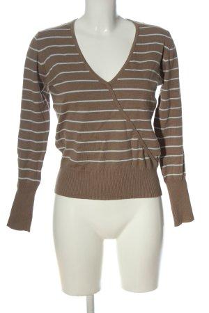 Gina Benotti V-Ausschnitt-Pullover braun-weiß Streifenmuster Casual-Look