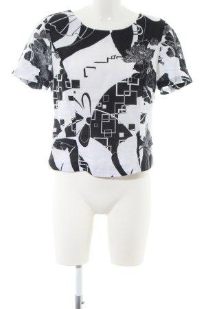 Gina Donna Leinenbluse weiß-schwarz abstraktes Muster Casual-Look