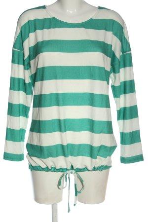 Gina Feinstrickpullover weiß-grün Streifenmuster Casual-Look