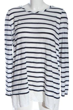 Gina Feinstrickpullover weiß-schwarz Streifenmuster Casual-Look