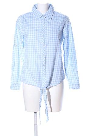 Gina Blouse à carreaux blanc-bleu motif à carreaux style décontracté