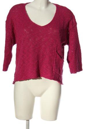 Gina Jersey de manga corta rojo punto trenzado look casual