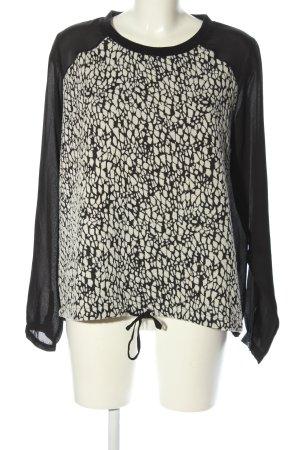 Gina Langarm-Bluse schwarz-weiß grafisches Muster Casual-Look