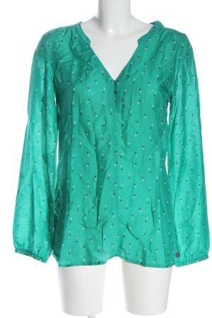 Gina Blouse à manches longues turquoise motif de tache style d'affaires