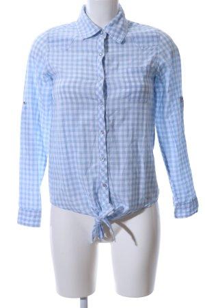 Gina Camicia a maniche lunghe blu-bianco motivo a quadri stile professionale