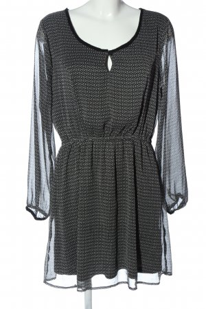 Gina Langarmkleid schwarz-weiß Allover-Druck klassischer Stil