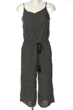 Gina Langer Jumpsuit schwarz-weiß Allover-Druck Casual-Look