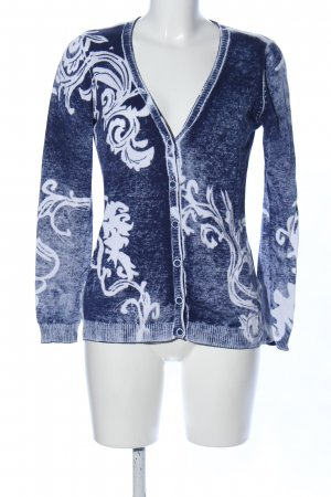 Gina Laura Cardigan blau-weiß Blumenmuster Casual-Look