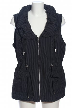 Gina Laura Down Vest black-light grey striped pattern casual look