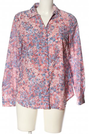 Gina Laura Hemd-Bluse blau-pink Allover-Druck Casual-Look