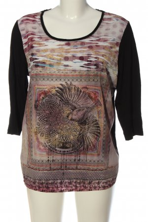 Gina Laura Langarm-Bluse grafisches Muster Casual-Look