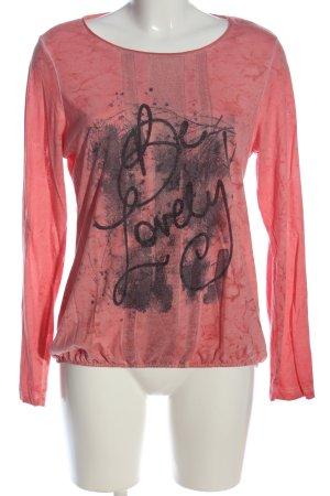 Gina Laura Longsleeve pink-schwarz Motivdruck Casual-Look