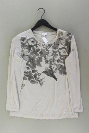 Gina Laura Longsleeve-Shirt Größe M mit Blumenmuster Langarm grau aus Viskose