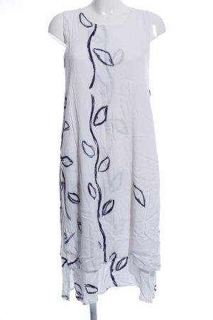 Gina Laura Midikleid weiß-schwarz abstraktes Muster Casual-Look