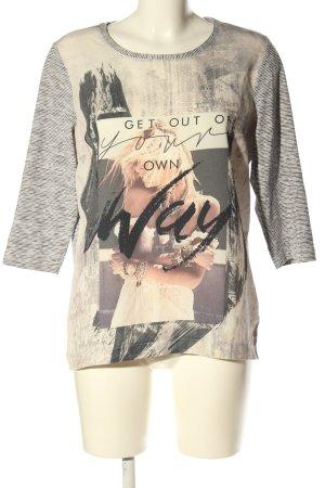 Gina Laura Print-Shirt weiß-schwarz meliert Casual-Look
