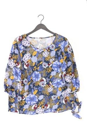 Gina Laura Shirt Größe 44 mit Blumenmuster 3/4 Ärmel blau