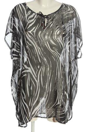 Gina Laura Shirttunika schwarz-weiß abstraktes Muster Casual-Look
