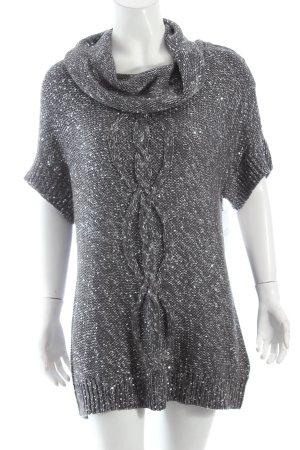 Gina Laura Strickbekleidung dunkelgrau-silberfarben Zopfmuster Glitzer-Optik