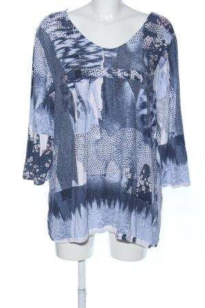 Gina Laura Sweatshirt blau-weiß Allover-Druck Casual-Look