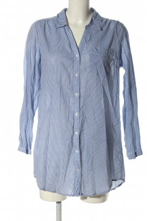 Gina Long-Bluse blau-weiß Allover-Druck Casual-Look