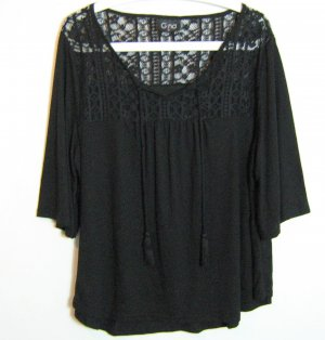 Gina Gehaakt shirt zwart Gemengd weefsel