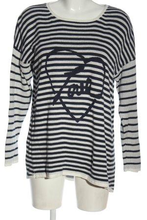 Gina Rundhalspullover weiß-schwarz Motivdruck Casual-Look