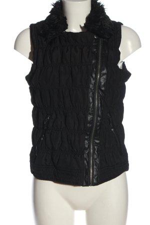 Gina Gilet matelassé noir motif de courtepointe style décontracté