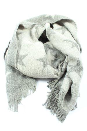 Gina Écharpe en tricot gris clair-blanc imprimé allover style décontracté