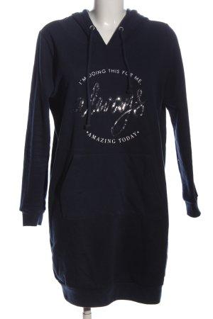 Gina Vestido de tela de sudadera negro letras impresas look casual