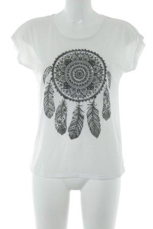 Gina T-Shirt weiß-grüngrau Motivdruck Casual-Look