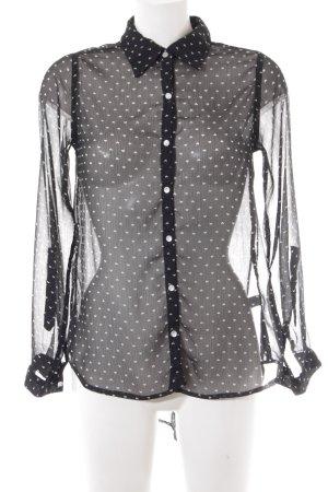 Gina Transparenz-Bluse schwarz-weiß Herzmuster Casual-Look