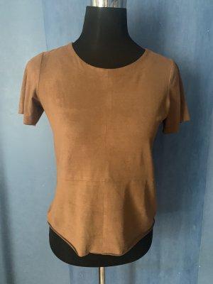 Gina Tricot Basic T Shirt Velour Imitat Rundhals kurzarm