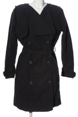 Gina Tricot bodenlanger Mantel schwarz Casual-Look