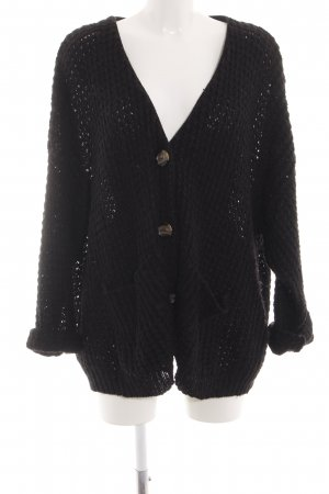 Gina Tricot Cardigan schwarz Zopfmuster Casual-Look