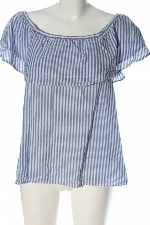 Gina Tricot Carmen-Bluse blau-weiß Allover-Druck Casual-Look