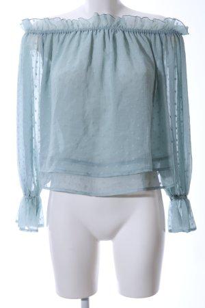Gina Tricot Carmen shirt turkoois volledige print casual uitstraling