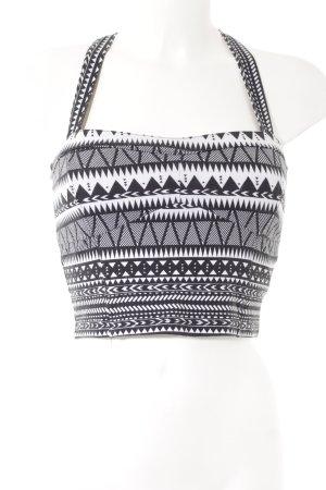 Gina Tricot Cropped Top schwarz-weiß Aztekenmuster Boho-Look