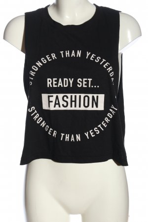 Gina Tricot Cut Out Top black-white printed lettering casual look