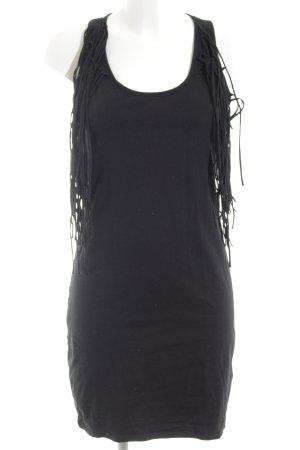 Gina Tricot Fransenkleid schwarz extravaganter Stil