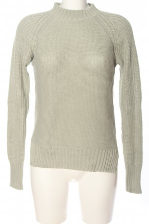 Gina Tricot Grobstrickpullover hellgrau Zopfmuster Casual-Look