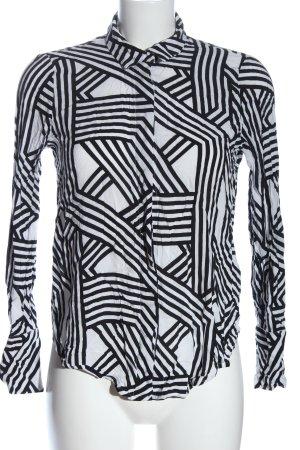 Gina Tricot Hemd-Bluse weiß-schwarz grafisches Muster Casual-Look