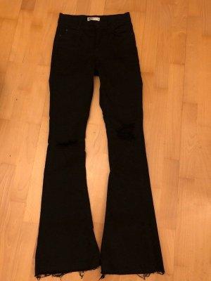 Gina Tricot Pantalon pattes d'éléphant noir coton