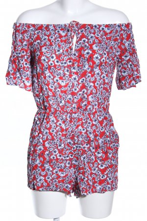 Gina Tricot Jumpsuit rot-blau Blumenmuster Casual-Look