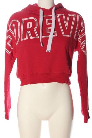 Gina Tricot Kapuzensweatshirt rot Schriftzug gedruckt Casual-Look