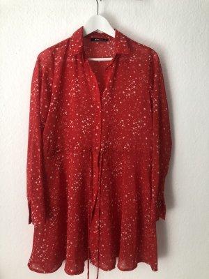 Gina Tricot Kleid Hemdkleid Rot Weiß Sterne Gr. 34