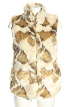 Gina Tricot Fake Fur Vest cream-bronze-colored allover print casual look