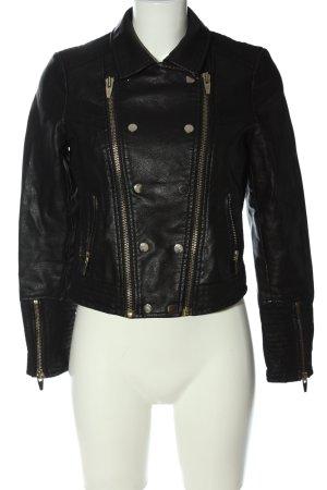 Gina Tricot Veste en cuir synthétique noir style décontracté