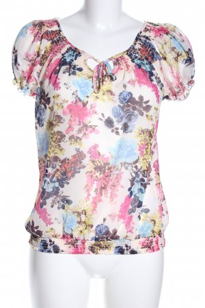 Gina Tricot Kurzarm-Bluse Allover-Druck Casual-Look