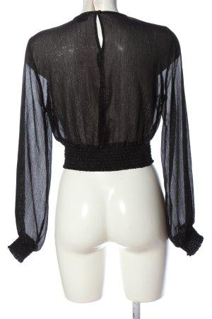 Gina Tricot Bluzka z długim rękawem czarny Elegancki