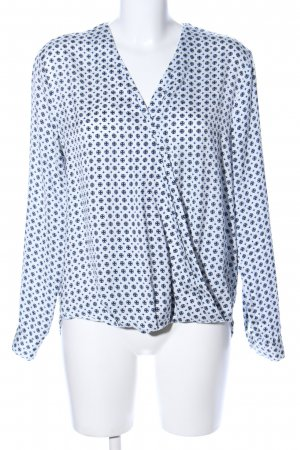 Gina Tricot Langarm-Bluse weiß-schwarz Allover-Druck Casual-Look